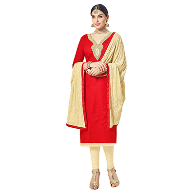 Glowing Red Colored Partywear Embroidered Cotton Silk Dress Material