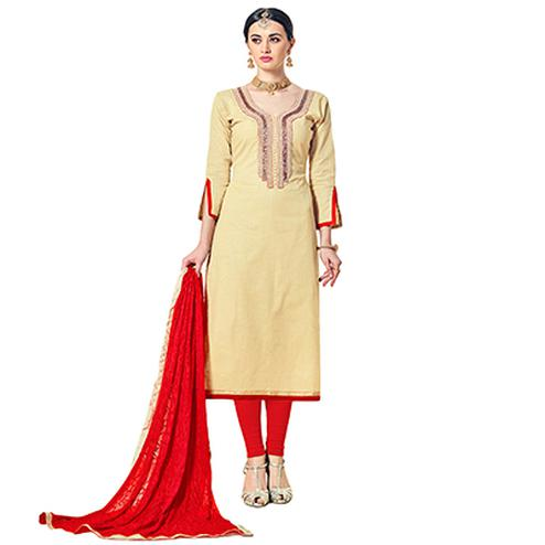 Pleasant Cream Colored Partywear Embroidered Cotton Silk Dress Material