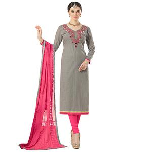 Opulent Gray Colored Partywear Embroidered Cotton Silk Dress Material