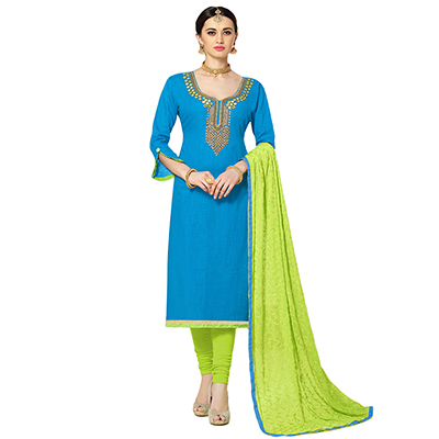 Trendy Blue Colored Partywear Embroidered Cotton Silk Dress Material