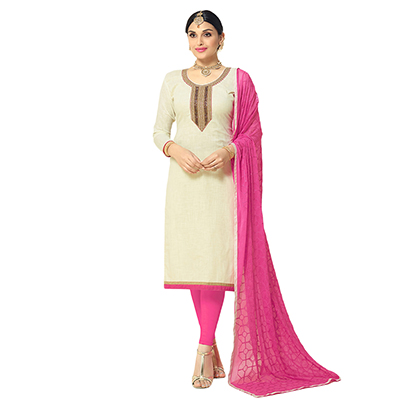 Refreshing Off-White Colored Partywear Embroidered Cotton Silk Dress Material