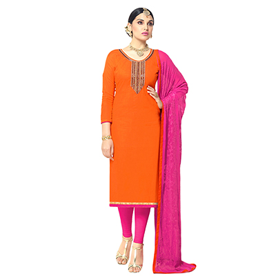 Traditional Orange Colored Partywear Embroidered Cotton Silk Dress Material
