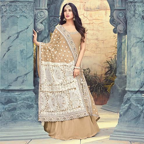 Unique Chiku Colored Partywear Embroidered Georgette Anarkali Suit