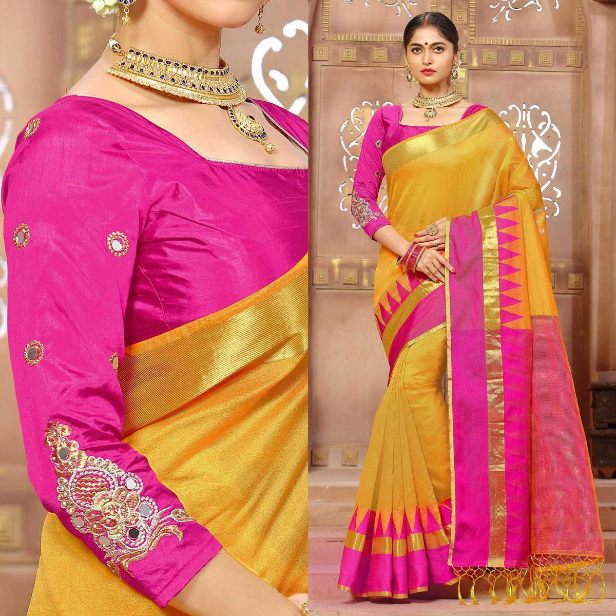 Beautiful Yellow And Pink Temple Bordered Banglori Silk Saree