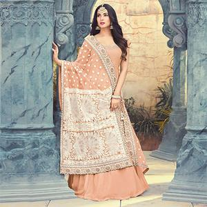 Pretty Peach Colored Partywear Embroidered Georgette Anarkali Suit