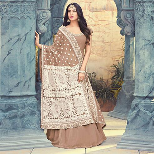 Attractive Brown Colored Partywear Embroidered Georgette Anarkali Suit