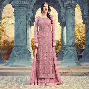 Pleasant Pink Colored Partywear Embroidered Net Palazzo Suit