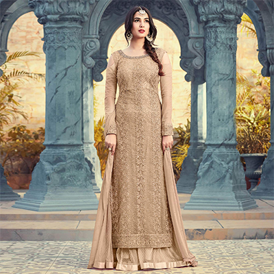 Eye-Catching Chiku Colored Partywear Embroidered Net Palazzo Suit