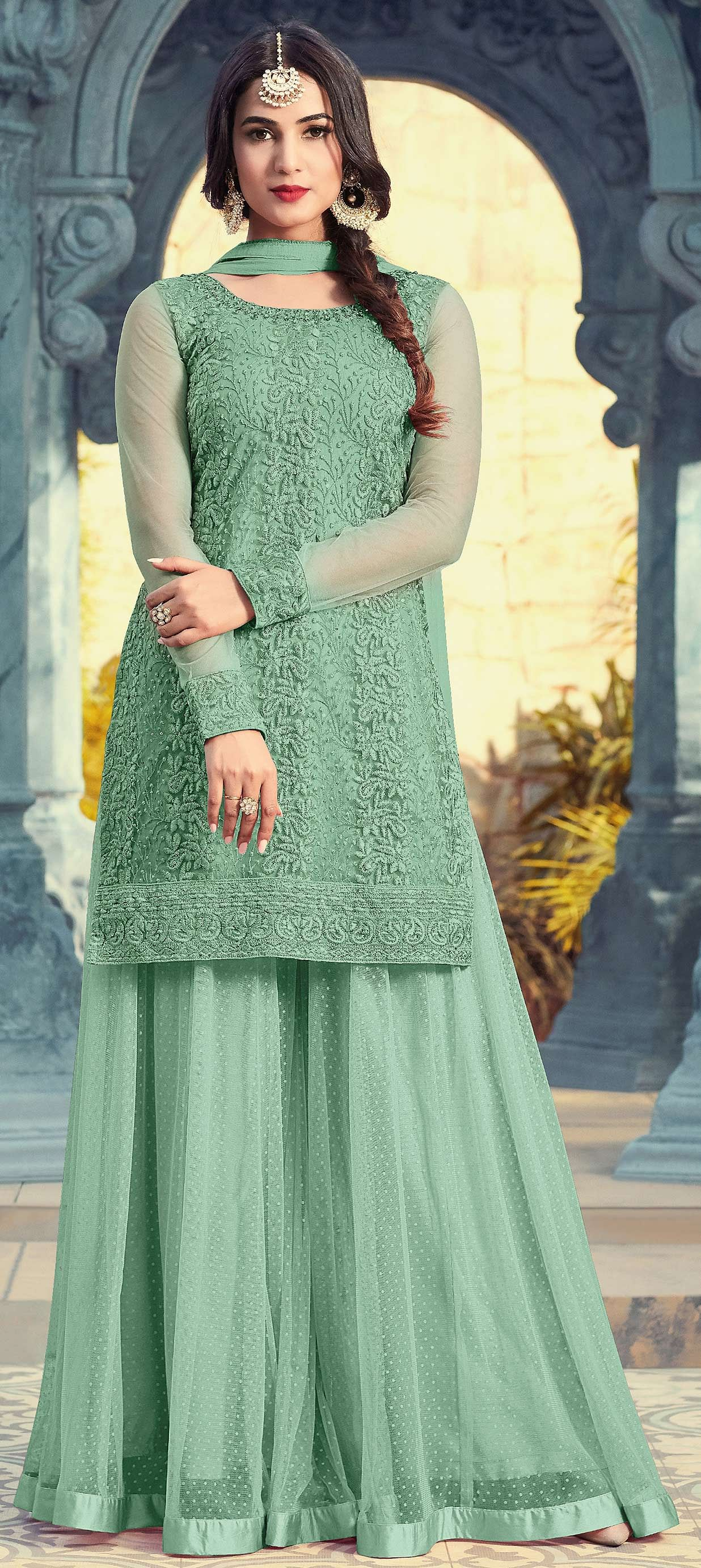 Groovy Green Colored Partywear Embroidered Net Palazzo Suit