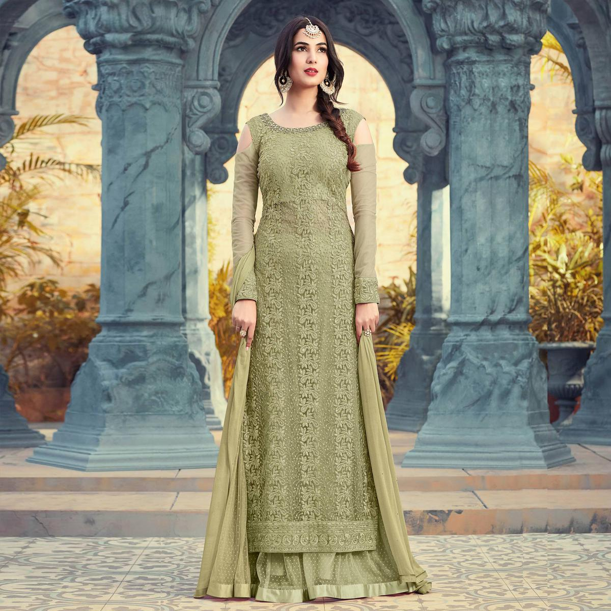 Blooming Olive Colored Partywear Embroidered Net Palazzo Suit