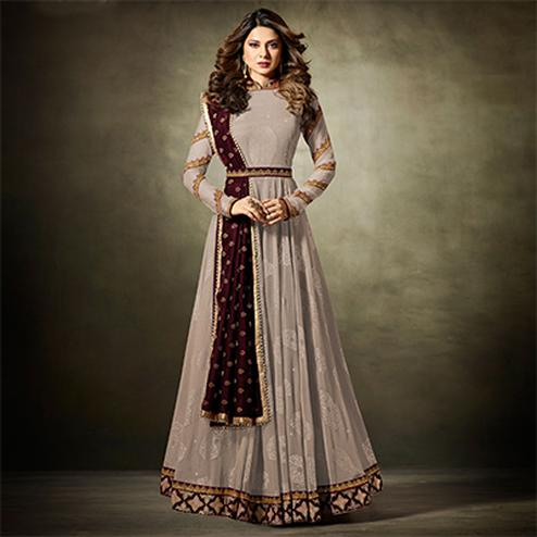 Stylish Gray Colored Partywear Embroidered Lycra-Jacquard Anarkali Suit