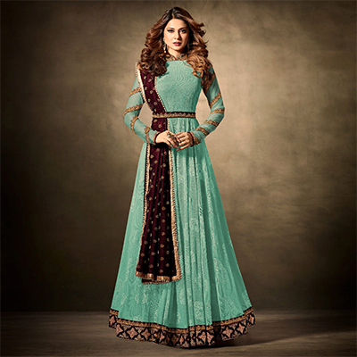 Demanding Turquoise Green Colored Partywear Embroidered Lycra-Jacquard Anarkali Suit