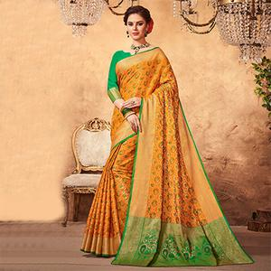 Amazing Orange Colored Festive Wear Patola Silk Saree