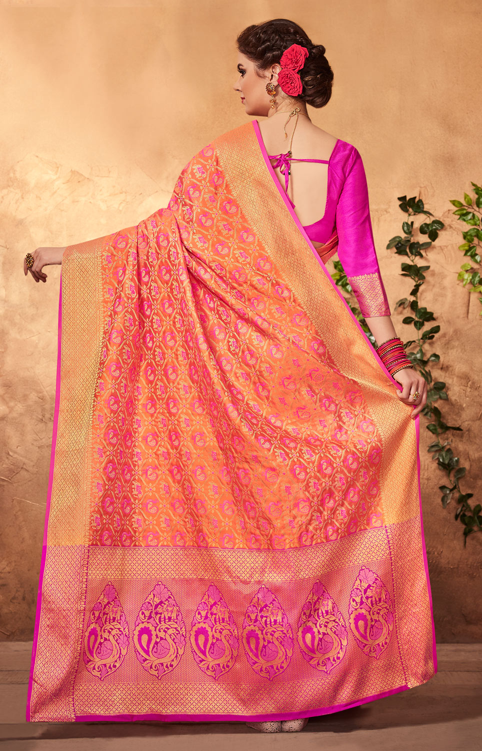 Blooming Orange - Pink Colored Festive Wear Patola Silk Saree