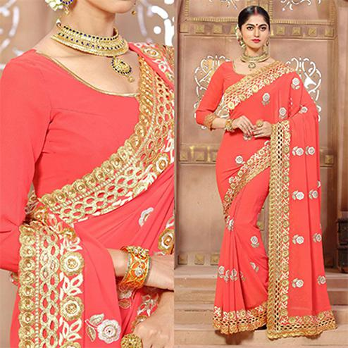 Adorable Peach Faux Georgette Cut Work Saree