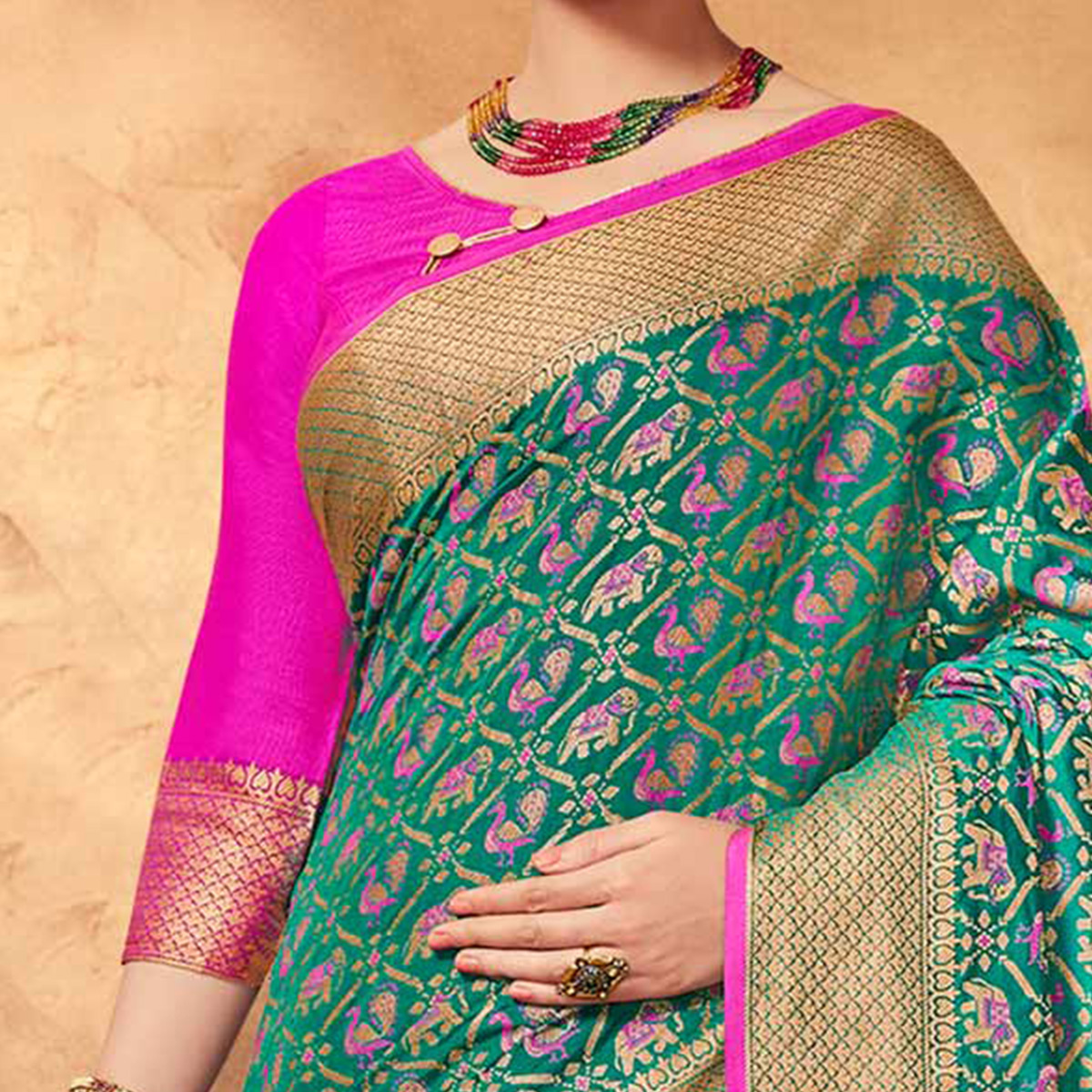 Graceful Green Colored Festive Wear Patola Silk Saree