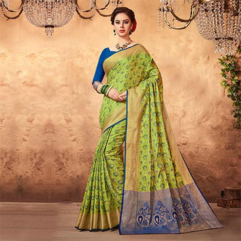 Attractive Light Green Colored Festive Wear Patola Silk Saree