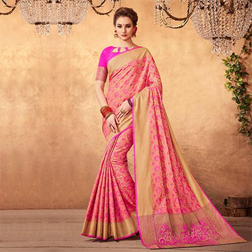 Lovely Pink Colored Festive Wear Patola Silk Saree