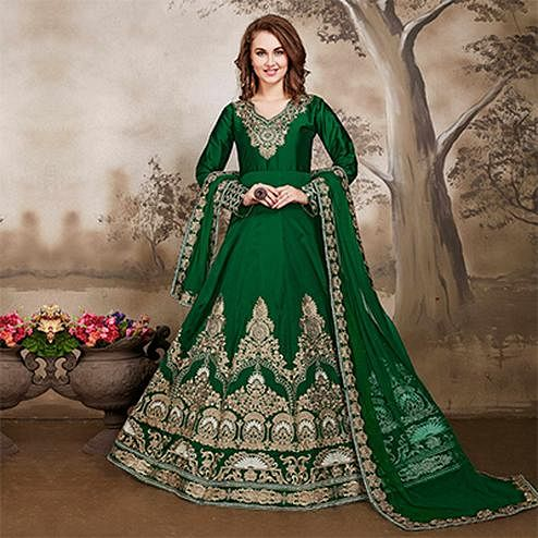 Intricate Dark Green Designer Embroidered Work Party Wear Taffeta Silk Anarkali Suit