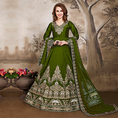 Demanding Olive Green Designer Embroidered Work Party Wear Taffeta Silk Anarkali Suit