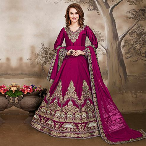Elegant Magenta Designer Embroidered Work Party Wear Taffeta Silk Anarkali Suit