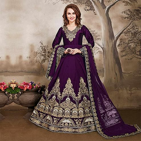 Dazzling Purple Designer Embroidered Work Party Wear Taffeta Silk Anarkali Suit