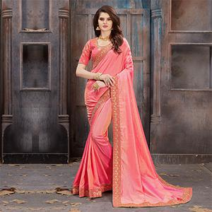 Impressive Light Pink Colored Partywear Embroidered Satin Silk Saree