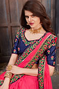 Demanding Hot Pink Colored Partywear Embroidered Satin Silk Saree