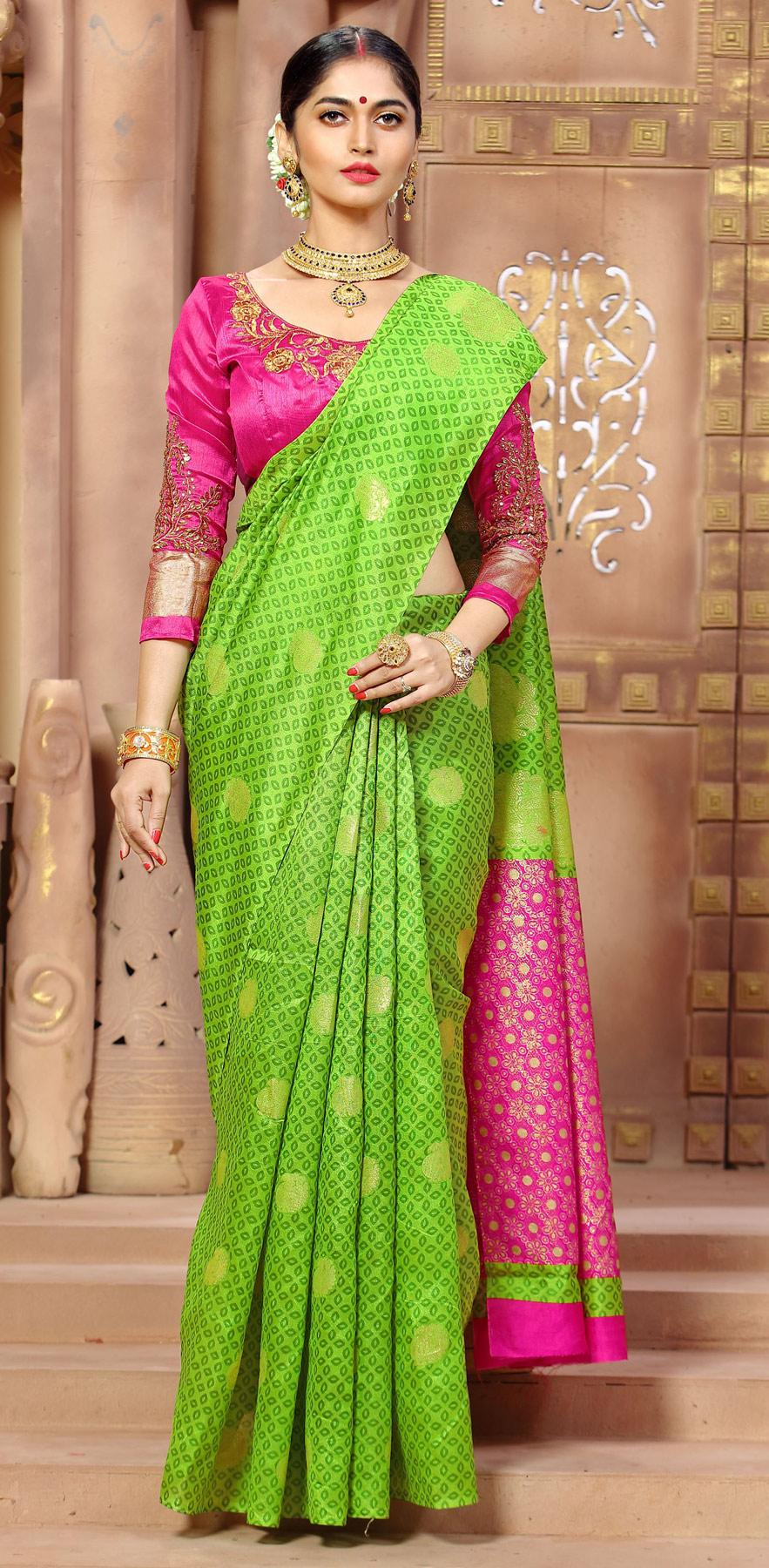 Impressive Green Color Designer Banglori Silk Party Wear Saree