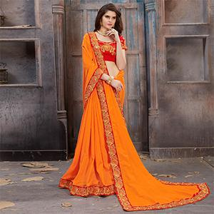 Glowing Yellow Colored Partywear Embroidered Satin Silk Saree