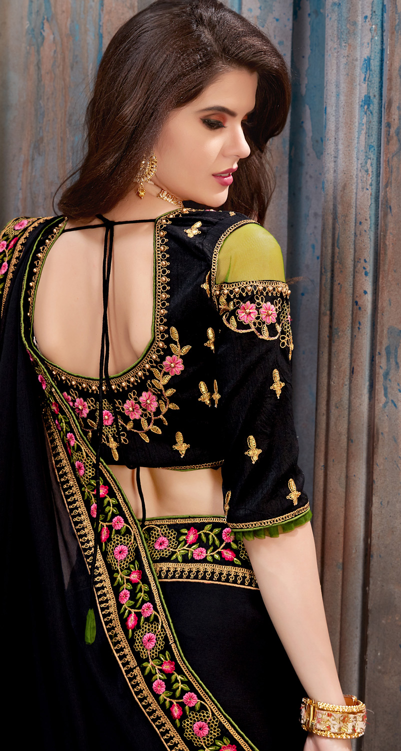 Hypnotic Black Colored Partywear Embroidered Chiffon Saree