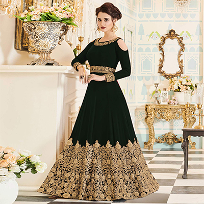 Attractive Black Colored Partywear Embroidered Georgette Anarkali Suit