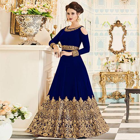 Glowing Blue Colored Partywear Embroidered Georgette Anarkali Suit
