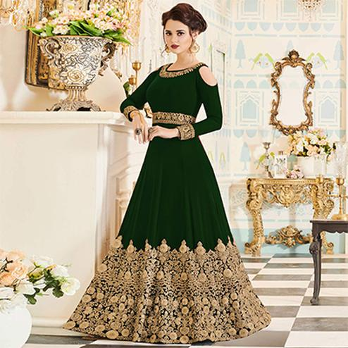 Groovy Green Colored Partywear Embroidered Georgette Anarkali Suit