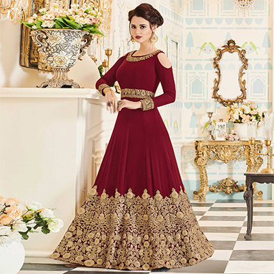 Demanding Maroon Colored Partywear Embroidered Georgette Anarkali Suit