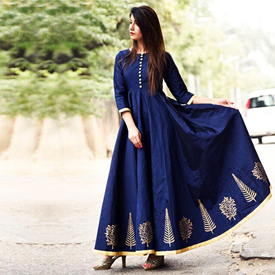 Amazing Royal Blue Designer Party Wear Tapeta Silk Gown
