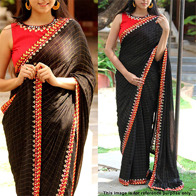 Adorning Black Colored Designer Partywear Jacquard Cotton Saree