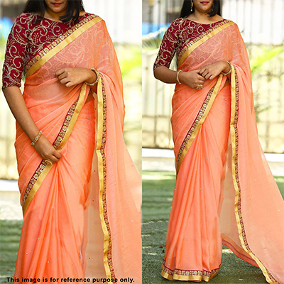Precious Peach Colored Partywear Embroidered Chiffon Saree