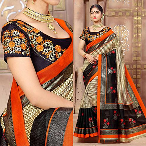 Classy Cream And Black Designer Banglori Silk Festive Wear Saree