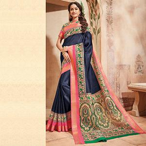 Navy Blue Colored Casual Wear Printed Art Silk Saree