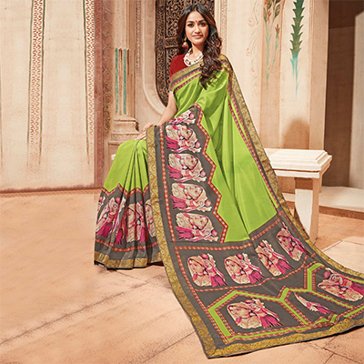 Light Green Colored Casual Wear Printed Art Silk Saree
