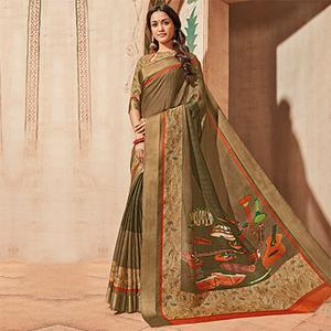 Light Brown Colored Casual Wear Printed Art Silk Saree