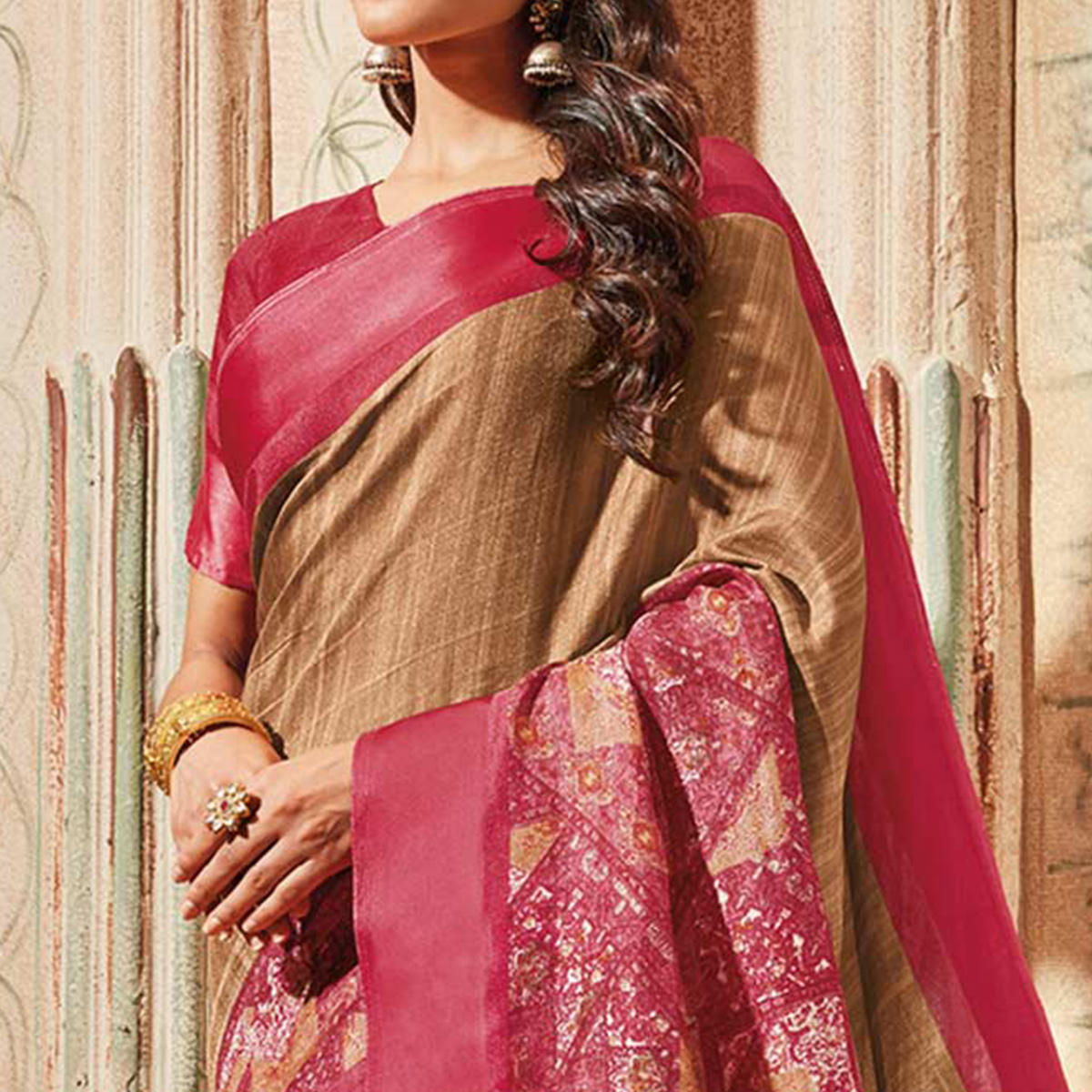 Brown & Pink Colored Casual Wear Printed Art Silk Saree
