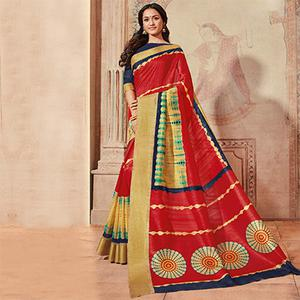 Red Colored Casual Wear Printed Art Silk Saree