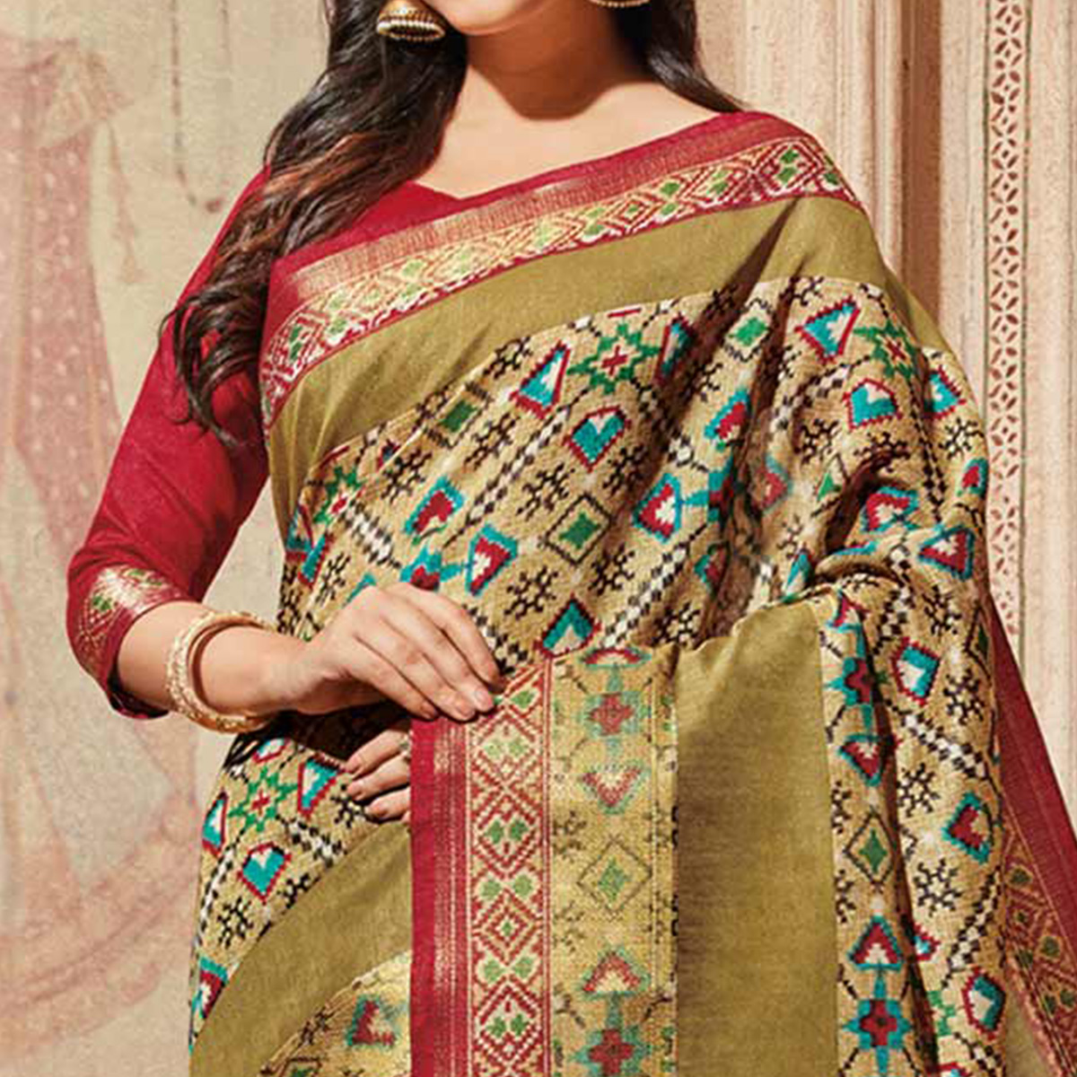 Beige & Multi Colored Casual Wear Printed Art Silk Saree