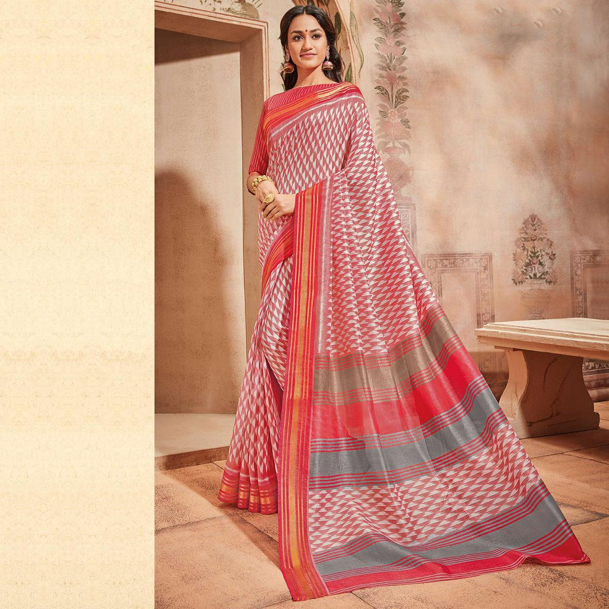 Pink & White Colored Casual Wear Printed Art Silk Saree