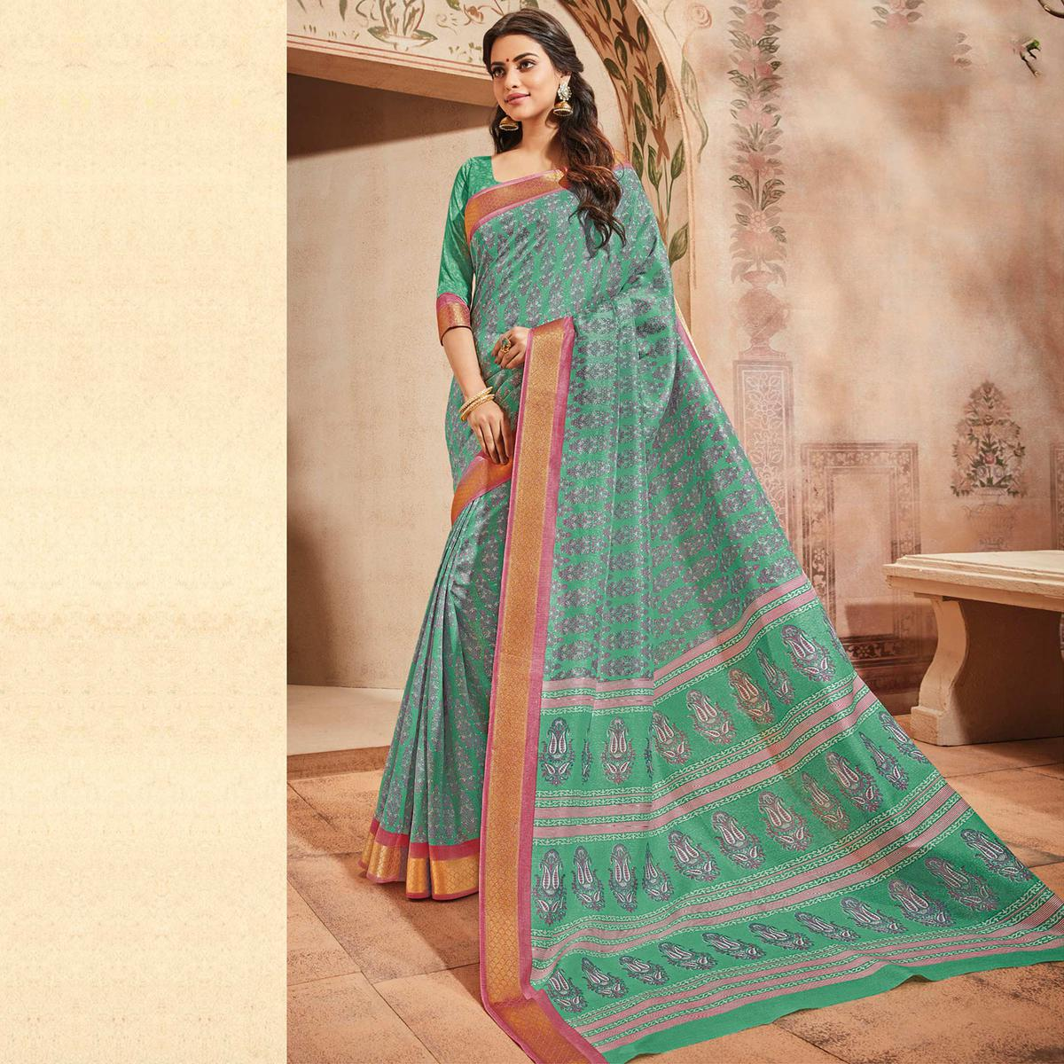 Sea Green Colored Casual Wear Printed Art Silk Saree