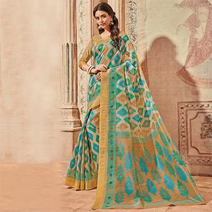 Beige & Blue Colored Casual Wear Printed Art Silk Saree