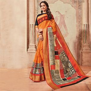 Orange Colored Casual Wear Printed Art Silk Saree