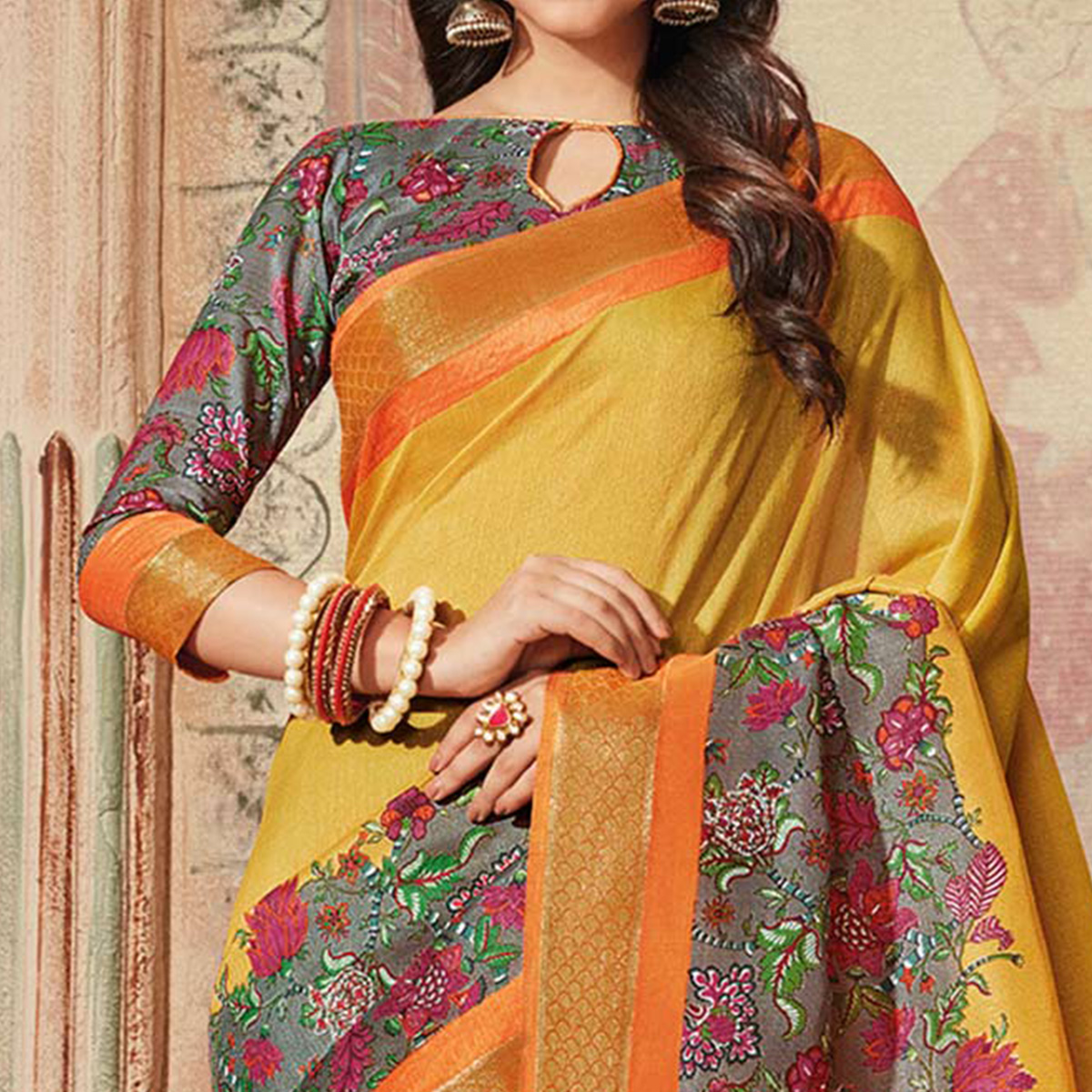 Yellow & Grey Colored Casual Wear Printed Art Silk Saree
